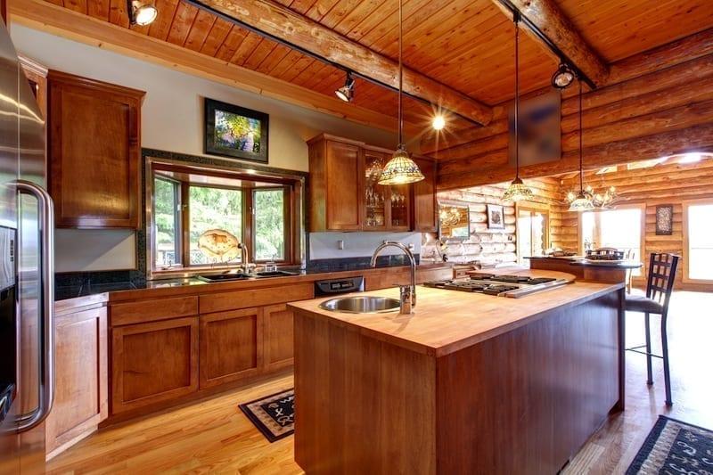 timber log cabin kitchen