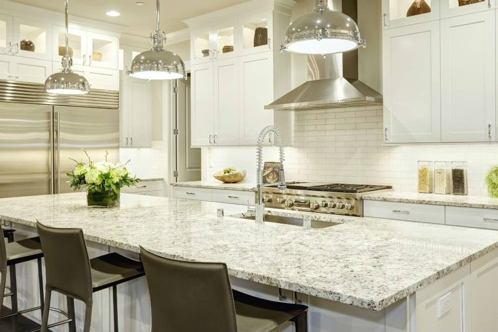 hamptons style kitchen in brisbane with large pendant lights
