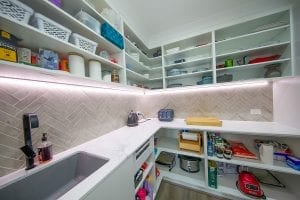 Open shelved butlers pantry